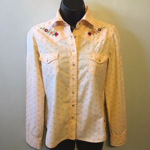 Roxy Jeans Western Pearl Snap Embroidered Shirt S